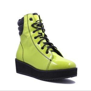 YRU Strange Cvlt Green Womens Platform Boot Shoe